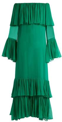 By. Bonnie Young - Off The Shoulder Tiered Silk Chiffon Gown - Womens - Green