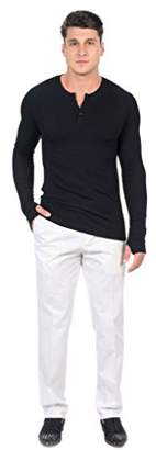 PEACE BY THE SHORE Men's Modal Long Sleeve Henley Tee