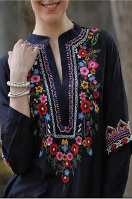 Avani del Amour Floral Embroidered Shirt
