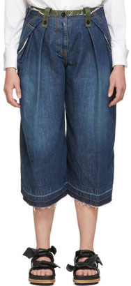 Sacai Blue and Khaki Cropped Jeans