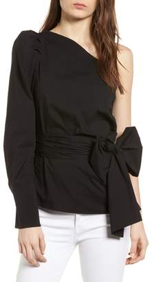 Bishop + Young BISHOP AND YOUNG Belted One-Shoulder Blouse