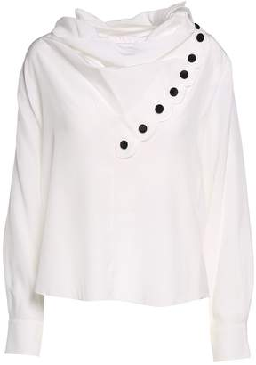 See by Chloe Draped-neckline Crepe-de-chine Blouse
