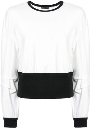 Josie Natori contrast long-sleeve sweater