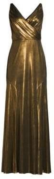 Aidan Mattox V-Neck Metallic Fit-&-Flare Gown