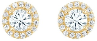 Affinity Diamond Jewelry Round Diamond Halo Earrings, 14K Yellow, 3/4 cttw, by Affinity
