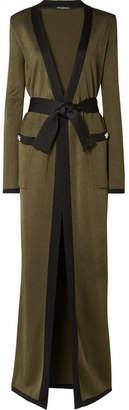 Balmain Two-tone Stretch-knit Cardigan - Army green