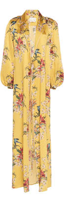 Johanna Ortiz Flower Queen Printed Silk-Satin Robe