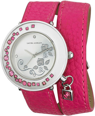 Laura Ashley Ladies Pink Stone Accent Colored Wrap Watch La31008Pk $345 thestylecure.com