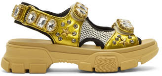 Gucci Gold and Beige Crystal Aguru Chunky Sandals
