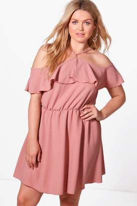 boohoo Plus Olivia Woven Drape Sleeve Ruffle Skater Dress