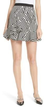 Self-Portrait Abstract Stripe Ruffle Skirt