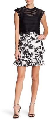 Religion Animal Printed Ruffle Tiered Mini Skirt