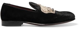 Dolce & Gabbana - Embellished Velvet Slippers - Black $995 thestylecure.com