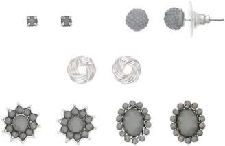 Simulated Crystal Nickel Free Stud Earring Set