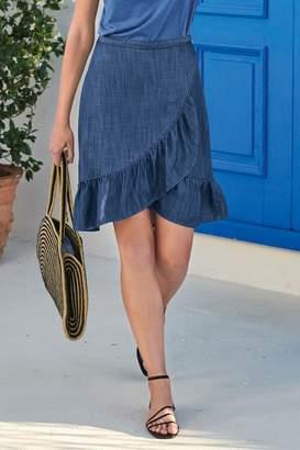 Next Womens Blue Tencel Wrap Ruffle Skirt - Blue