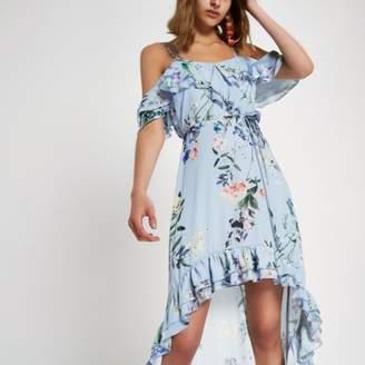River Island Womens Blue floral frill high low maxi dress