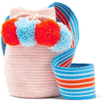 Lulu Sophie Anderson Ii Mini Pompom-embellished Woven Bucket Bag - Pink