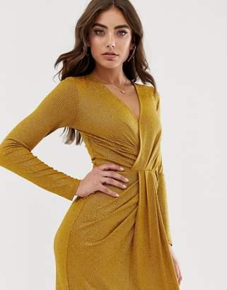 Lipsy drape plunge front metallic maxi dress in gold