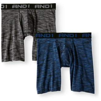 AND 1 Men's Performance Long Length Boxer Brief with Fly Pouch, 2-Pack