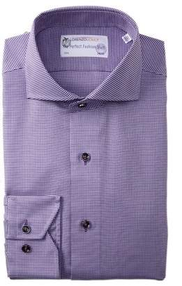 Lorenzo Uomo Mini Houndstooth Trim Fit Dress Shirt
