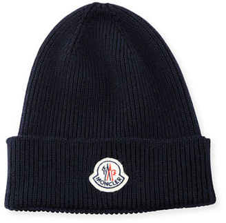 Moncler Ribbed Wool Logo Beanie Hat $135 thestylecure.com