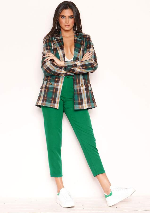 Missyempire Izzy Green High Waist Belted Trousers