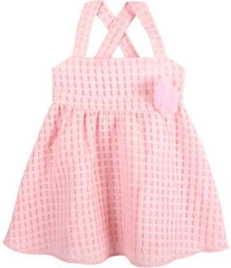 G-Cutee Toddler Girls' Pink Textured Cross-Back Dress with Flower Detail