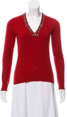 White + Warren Embellished Cashmere Sweater