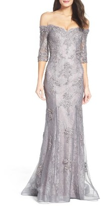 Women's La Femme Fit & Flare Gown With Train $628 thestylecure.com