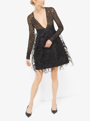 Michael Kors Sequin and Feather-Embroidered Silk and Wool Mikado Dress