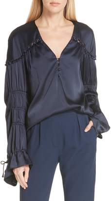 Jonathan Simkhai Gathered Sleeve Satin Blouse