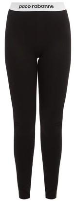 Paco Rabanne Logo Jacquard Leggings - Womens - Black