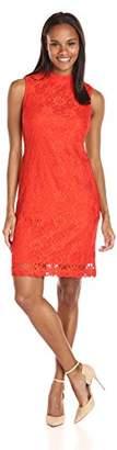 Sharagano Women's High Neck Sleeveless Lace Dress
