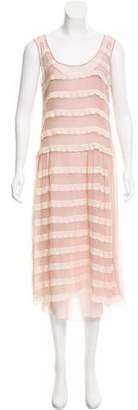 Blumarine Sleeveless Silk Midi Dress