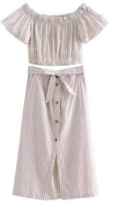 Goodnight Macaroon 'Daphne' Striped Off The Shoulder Midi Skirt Two Piece Set