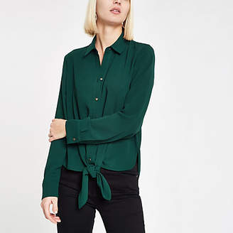 River Island Womens Dark green tie front shirt