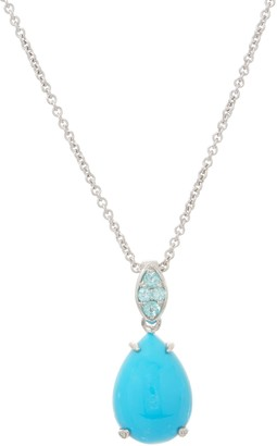 Sleeping Beauty Turquoise and Apatite Enhancer w/ Chain, Sterling