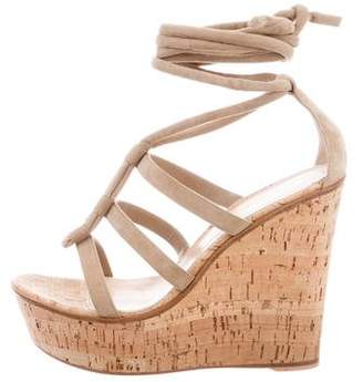 Gianvito Rossi Suede Cork Wedges