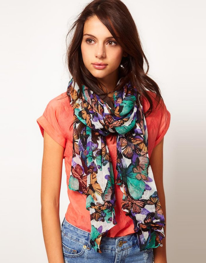 Warehouse Shadow Butterfly Print Scarf