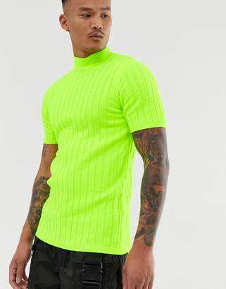 Asos Design DESIGN knitted ribbed turtle t-shirt in neon green