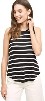 BeautyGal Woen's Brief Knit Sleeveless Striped Irregular Tee Tank Top