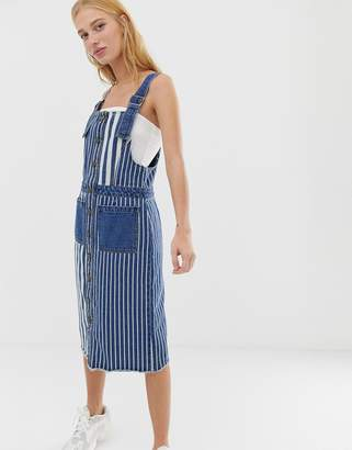 Noisy May stripe denim pinnafore dress