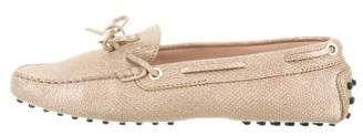 Tod's Metallic Square-Toe Loafers