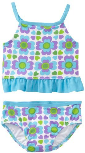 Baby Bunz Girls 2-6X Heart Tile Swimsuit