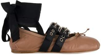 Miu Miu ankle strap buckled ballerinas