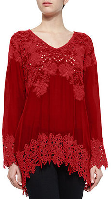 Johnny Was Lacy V-Neck Georgette Tunic $270 thestylecure.com
