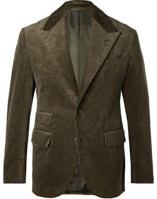 Camoshita Army-Green Slim-Fit Cotton-Corduroy Suit Jacket