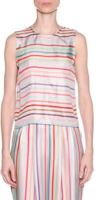 Emporio Armani Multicolor Horizontal Striped Twist-Back Silk Shell
