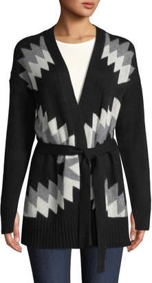 360 Sweater 360sweater Moxie Belted Zigzag & Skull Intarsia Wool-Cashmere Cardigan