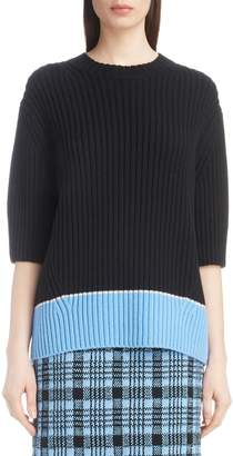 Dries Van Noten Contrast Hem Merino Wool & Cashmere Sweater